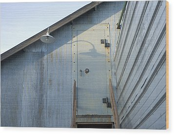 The Entry To A Metal Shed On A Sawmill Wood Print by Joel Sartore