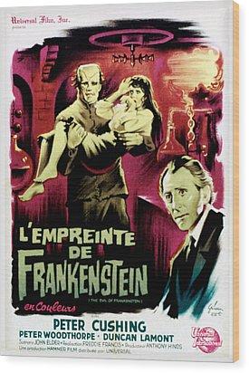 The Evil Of Frankenstein Aka Lempreinte Wood Print by Everett