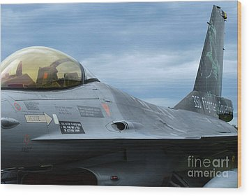 The F-16 Aircraft Of The Belgian Army Wood Print by Luc De Jaeger
