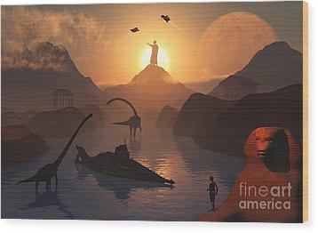 The Fabled City Of Atlantis Set Wood Print by Mark Stevenson