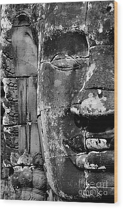 Wood Print featuring the photograph The Face Of Angkor by Nola Lee Kelsey