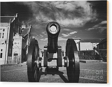 The Famous Roaring Meg Cannon On The Mall Wall And Double Bastion Section Of Derrys Walls Wood Print by Joe Fox