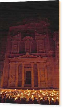 The Famous Treasury Lit Up At Night Wood Print by Taylor S. Kennedy