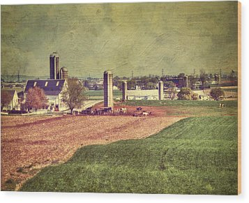 The Farm In Lancaster Wood Print by Kathy Jennings