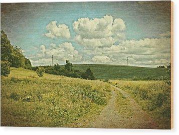 The Farm Road Wood Print