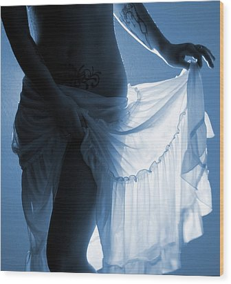 The Feminine- Walking In Her Moonlight Wood Print by Nyla Alisia