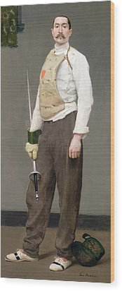 The Fencing Master Wood Print by Julius Gari Melchers