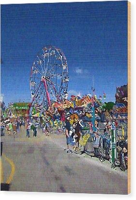 Wood Print featuring the photograph The Ferris Wheel At The Fair by Mario Carini
