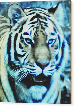 The Fierce Tiger Wood Print by Bill Cannon