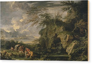 The Finding Of Moses Wood Print by Salvator Rosa