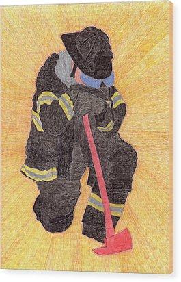 The Fireman Wood Print