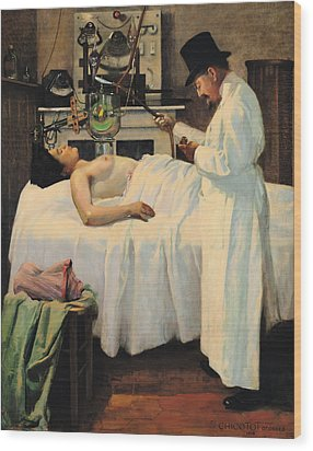 The First Attempt To Treat Cancer With X Rays Wood Print by Georges Chicotot