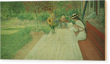 The First Lesson Wood Print by Carl Larsson