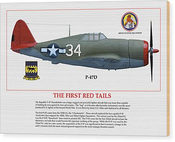 The First  Red Tails Wood Print by Jerry Taliaferro