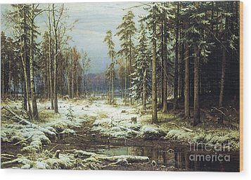 The First Snow Wood Print by Pg Reproductions