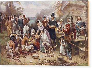 The First Thanksgiving, 1621, Pilgrims Wood Print by Everett