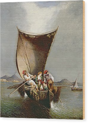 The Fisherman's Family Wood Print by Consalvo Carelli