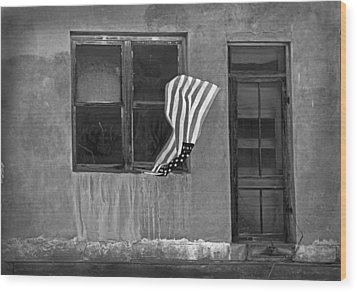 The Flag A Window And A Door Wood Print by James Steele