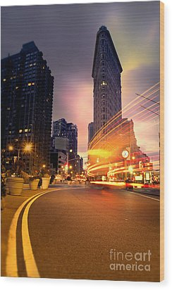 The Flat Iron Building With Some Magic Happening Wood Print by John Farnan