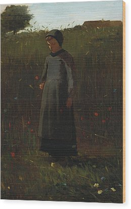 The Flowers Of The Field Wood Print by Winslow Homer