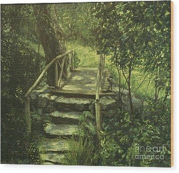 The Footbridge Wood Print by Michael John Cavanagh