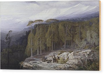 The Forest Of Valdoniello - Corsica Wood Print by Edward Lear
