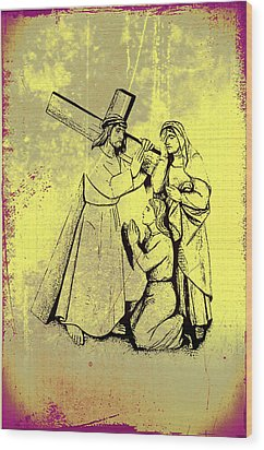 The Fourth Station Of The Cross - Jesus Meets His Mother Wood Print by Bill Cannon