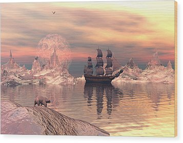 Wood Print featuring the digital art The Frozen North by Claude McCoy