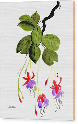 Wood Print featuring the painting The Fuschia by Alethea McKee