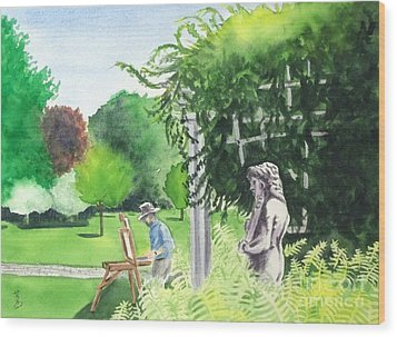 Wood Print featuring the painting the garden at the wellers carriage house in Saline  Michigan 1 by Yoshiko Mishina