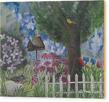The Garden Wood Print by Barbara McNeil