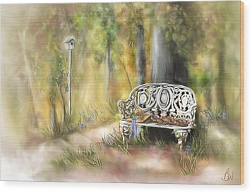 Wood Print featuring the painting The Garden Bench by Bonnie Willis