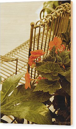 Wood Print featuring the photograph The Garden Bench by MaryJane Armstrong