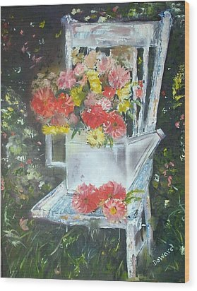 Wood Print featuring the painting The Garden Chair by Raymond Doward