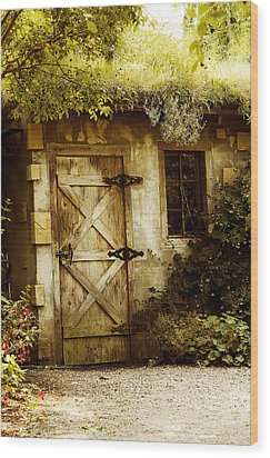 The Garden Shed Wood Print by MaryJane Armstrong