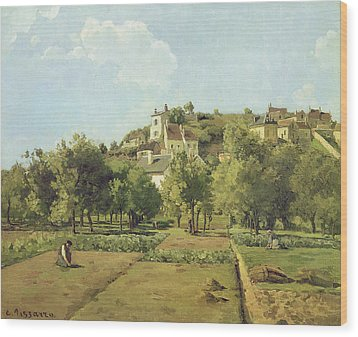The Gardens Of The Hermitage Wood Print by Camille Pissarro
