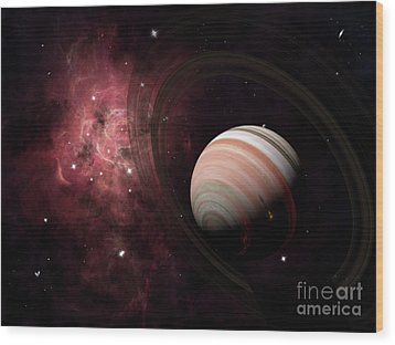 The Gas Giant Carter Orbited By Its Two Wood Print by Brian Christensen