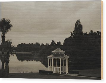 Wood Print featuring the photograph The Gazebo At The Lake by DigiArt Diaries by Vicky B Fuller