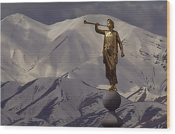 The Gilded Statue Of The Angel Moroni Wood Print by James P. Blair