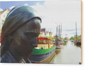 The Girl At The Harbor Wood Print by Steve K