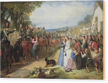 The Girls We Left Behind Us - The Departure Of The 11th Hussars For India Wood Print by Thomas Jones Barker