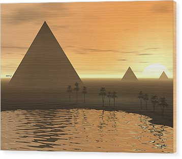 Wood Print featuring the digital art The Giza Necropolis by Phil Perkins