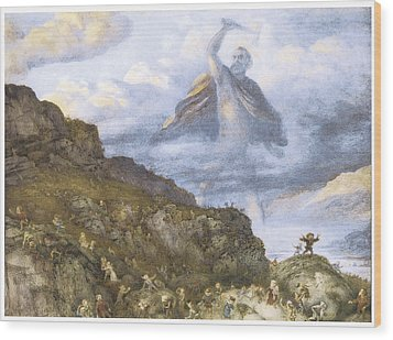 The God Thor And The Dwarves Wood Print by Richard Doyle