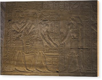 The Gods Horus, Hathor And The Pharaoh Wood Print by Taylor S. Kennedy