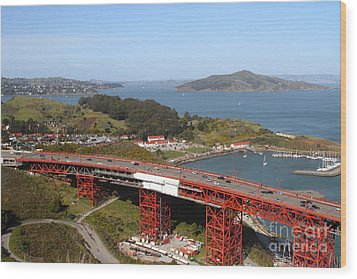 The Golden Gate Bridge North Side Overlooking Angel Island And Tiburon And Horseshoe Bay . 7d14494 Wood Print by Wingsdomain Art and Photography