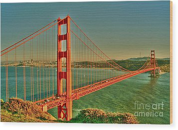 The Golden Gate Bridge Summer Wood Print by Alberta Brown Buller