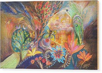 The Golden Jerusalem Wood Print by Elena Kotliarker