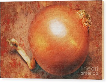 The Golden Onion Wood Print by Andee Design
