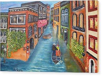 The Gondola Ride Wood Print by Annamarie Sidella-Felts