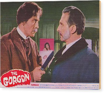 The Gorgon, From Left Christopher Lee Wood Print by Everett